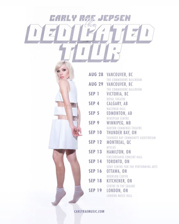 Carly Rae Jepsen - Dedicated Tour 2019 Vancouver, Victoria, Calgary, Edmonton, Winnipeg, Thunder Bay, Montreal, Hamilton, Toronto, Ottawa, Kitchener, London