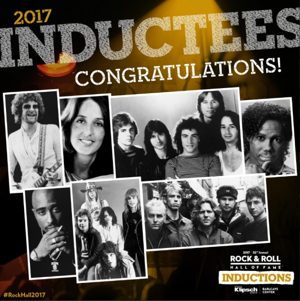 2017 Rock and Roll Hall of Fame Inductees Ceremony - ELO, Joan Baez, Journey, Pearl Jam, Tupac Shakur, Yes, Nile Rodgers, Alex Lifeson, Geddy Lee, Barclays Center, Brooklyn