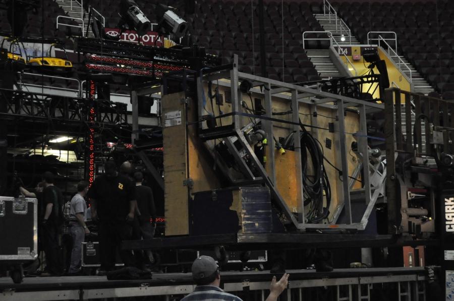 RUSH Time Machine Tour - Neil's Drum Kit - Putting Drum Riser on stage