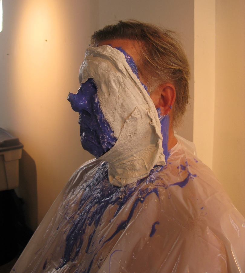 Alex Lifeson getting ready for the fat suit for the Time Machine Videos