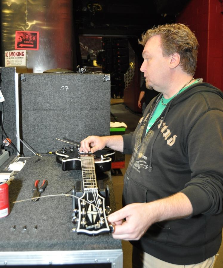 RUSH Time Machine Tour - Scott Working on Alex's Black Les Paul