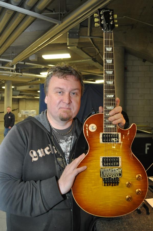 RUSH Time Machine Tour - Scott Appleton Alex Lifeson Guitar Tech with Les Paul Axcess with Tea Burst
