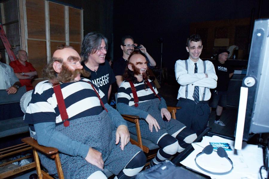 Alex Lifeson (Troll), Geddy Lee (Gnome), Dale Heslip, Allan Weinrib and Jay Baruchel review the tax man Clockwork Angels video