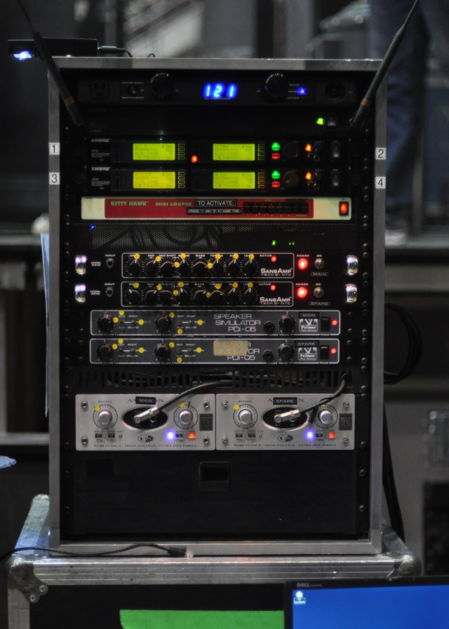 RUSH Time Machine Tour - Geddy Lee Gear - Shure Wireless, SansAmp Tech 21, Palmer PDI-05 Speaker Simulators, Avalon Ultra Five Class A Direct PreAmp