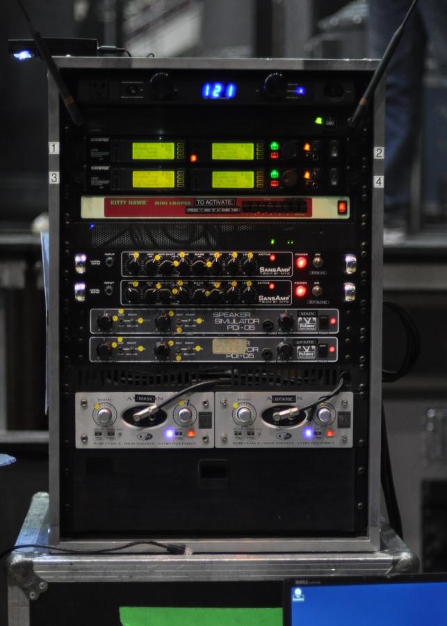 RUSH Time Machine Tour - Geddy Lee Gear - Shure Wireless, SansAmp Tech 21, Palmer PDI-05 Speaker Simulators, Avalon Ultra Five Class A Direct PreAmp