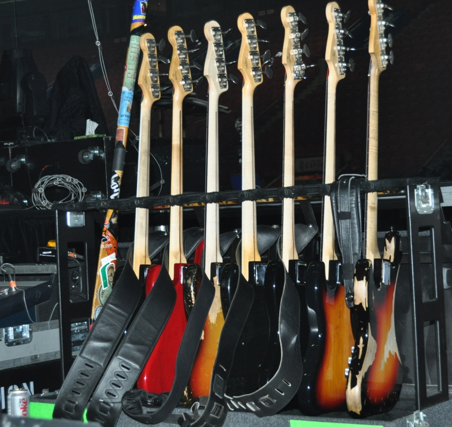 RUSH Time Machine Tour - Geddy Lee Rack of Bass Guitars
