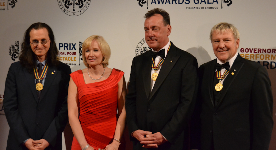 2012 Governor General Performing Arts Awards National Arts Centre - RUSH Geddy Lee, Laureen Harper, Neil Peart, Alex Lifeson