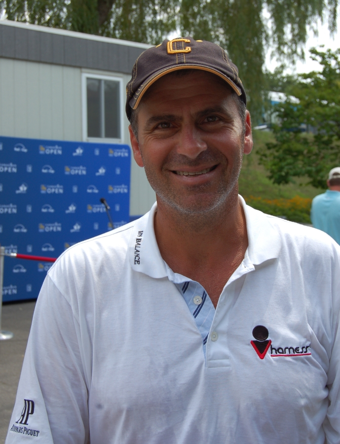 Rocco Mediate close friend of RUSH's Alex Lifeson wearing Coppinwood Baseball Cap at the 2010 RBC Canadian Open